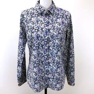 J. Crew Perfect Floral Button-Down Cotton Blouse